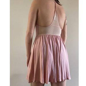 Urban Outfitters Dresses - Pink and cream mesh insert mini dress